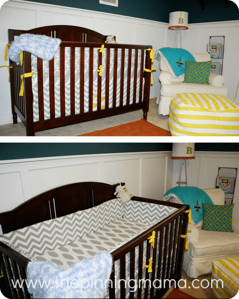 Nursery, baby boy, neutral, blue, board and batten, DIY