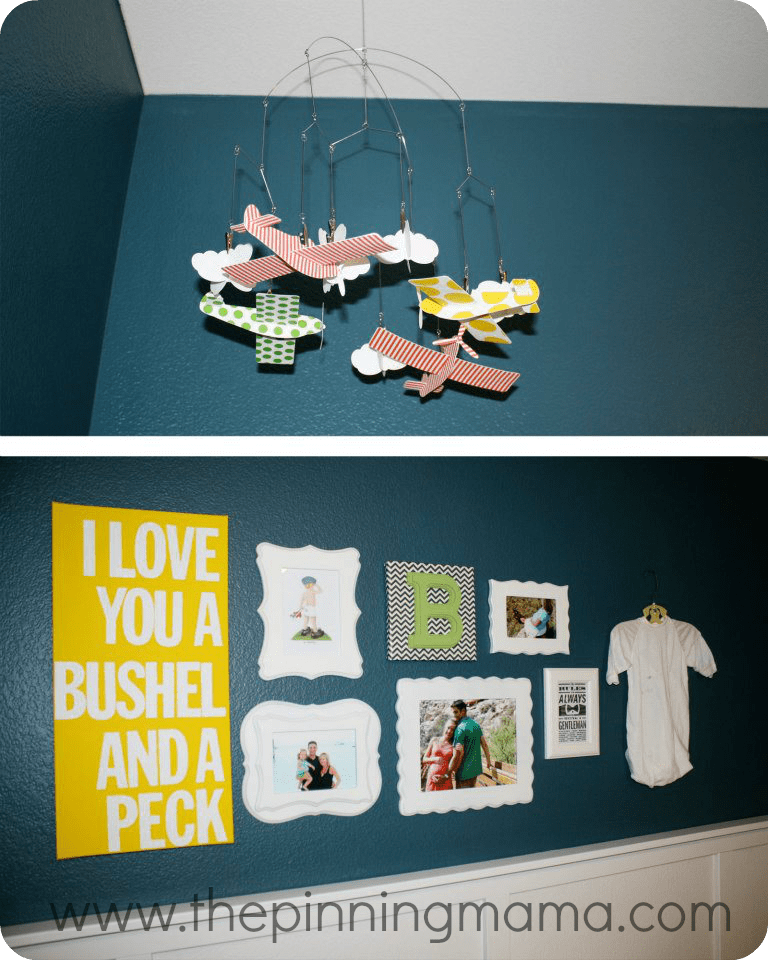 Neutral nursery, boy nursery, blue, gallery wall