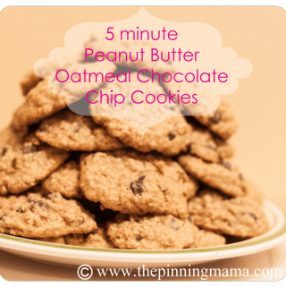 5 Minute Peanut Butter Oatmeal Chocolate Chip Cookies