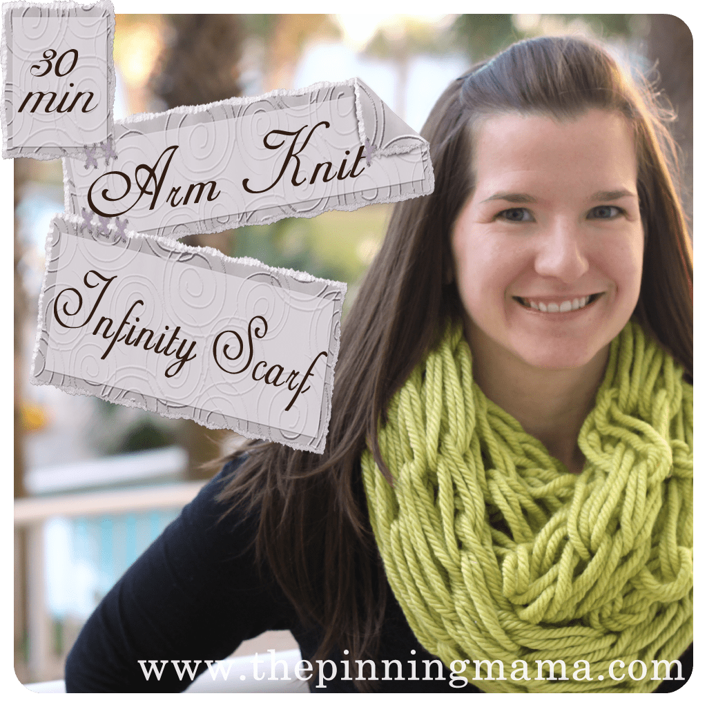 Arm Knitting Infinity Scarf | The Pinning Mama