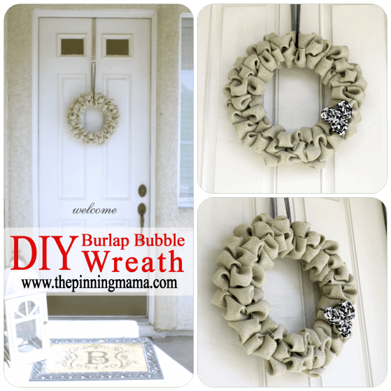 Burlap bubble wreath, DIY, wreath, burlap, natural, easy wreath