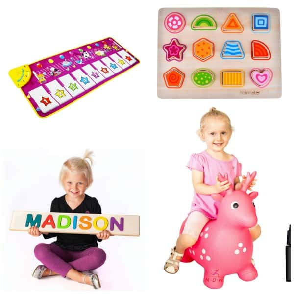 Older One Year Old Gift Ideas including puzzles, music and ride on toys.