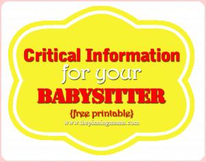 babysitter information, babysitter checklist, babysitter, babysitter contact, babysitter emergency sheet