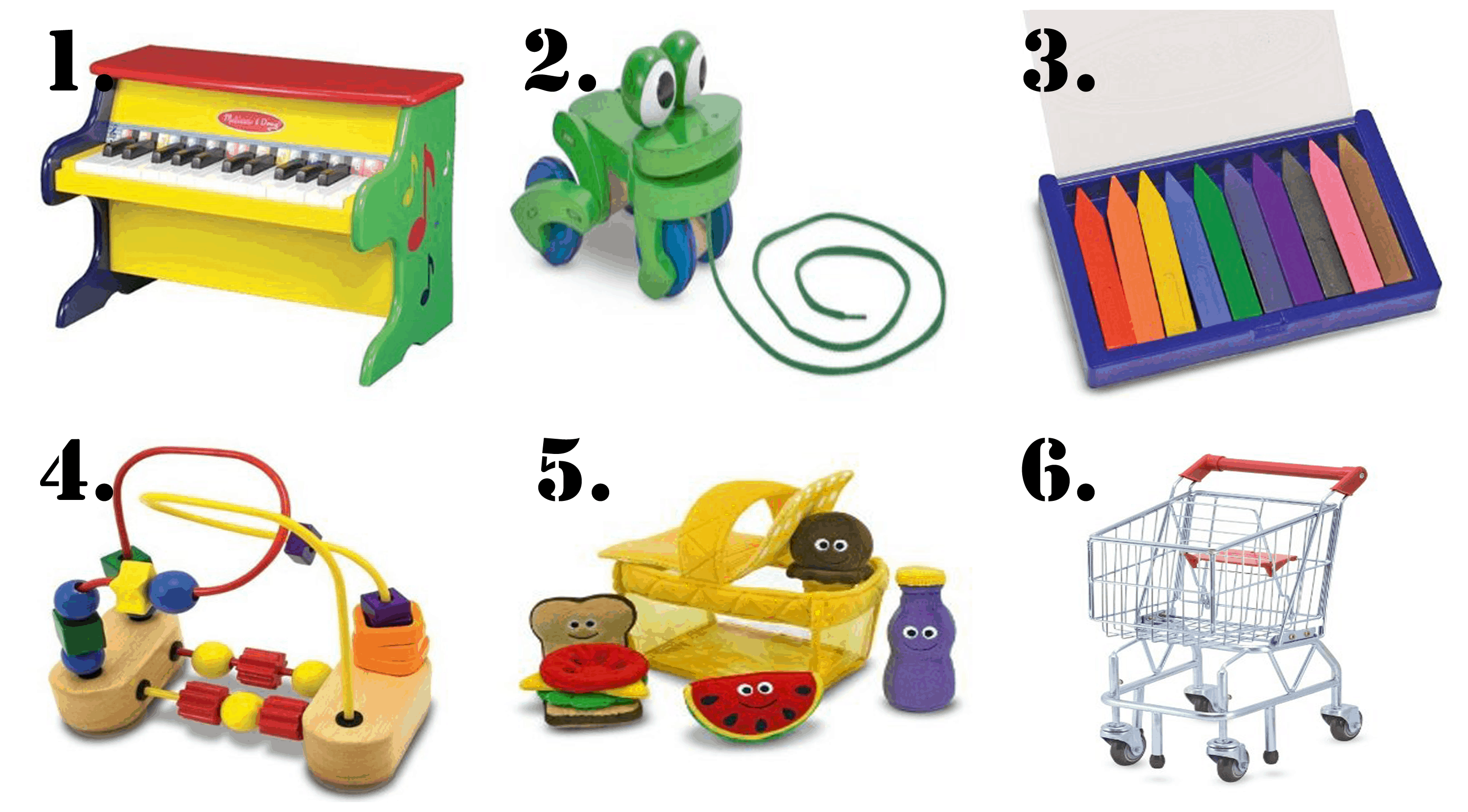 Melissa and Doug Toys are some of the best birthday presents for a 1 year old including the piano, pull along frog, crayons, shopping cart and more.
