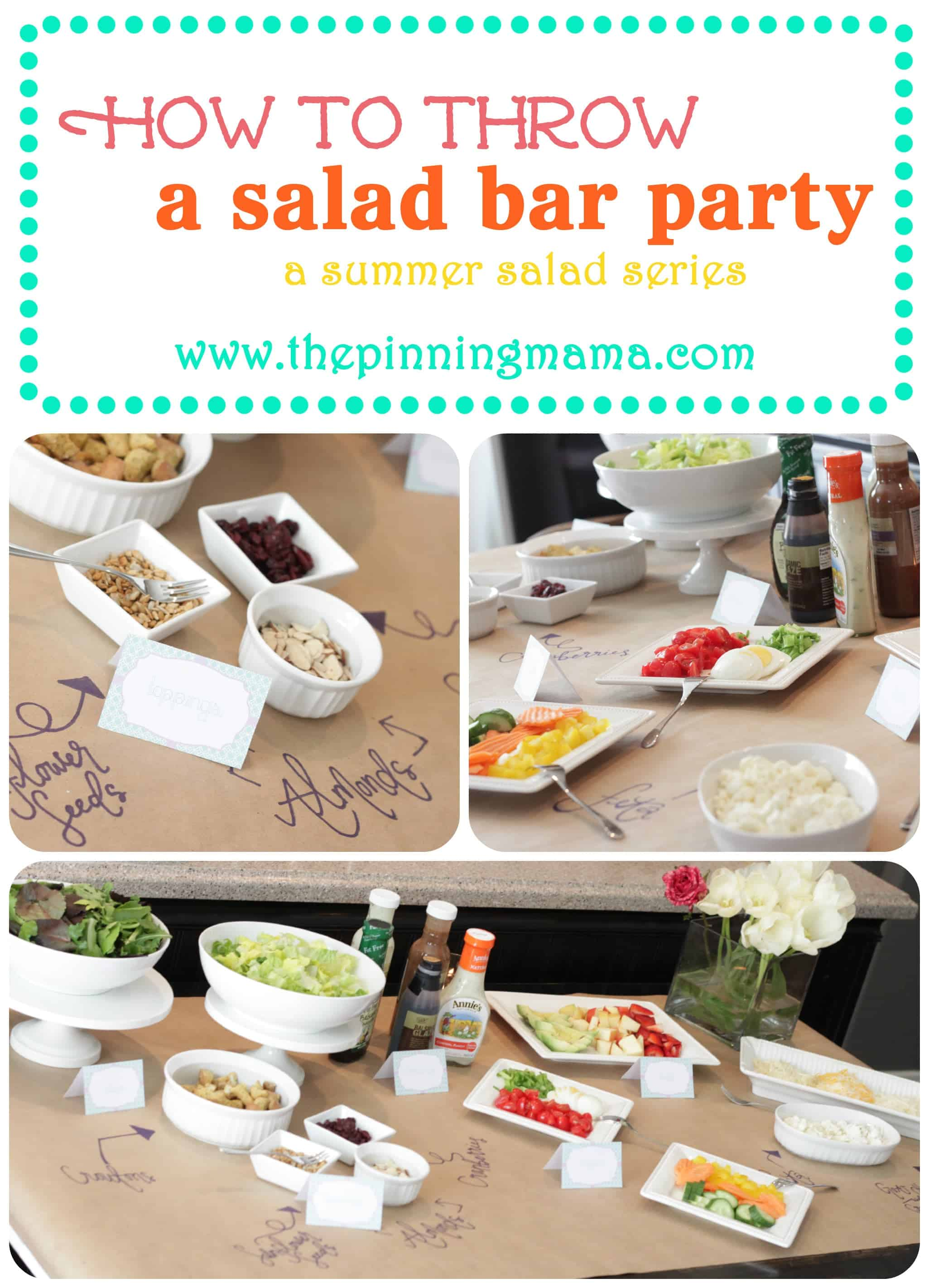 How to throw a salad bar party and a printable the for Food bar ideas for a party