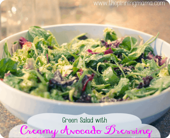 Green Salad with Creamy Avocado Dressing by www.thepinningmama.com