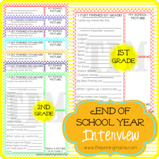 {Free Printables} Kid's End of School Year Interview