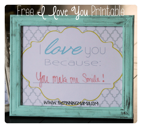 Free Printable I Love You Because In A Dry Erase Frame