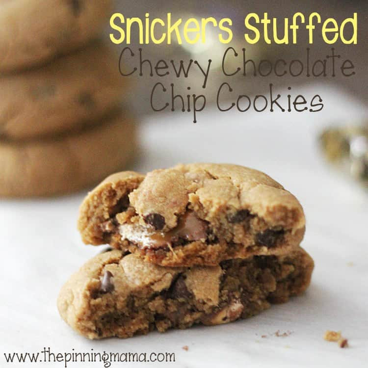 The Ultimate Game Day Recipe!!! Snickers Stuffed Chewy Chocolate Chip Cookies by www.thepinningmama.com #shop