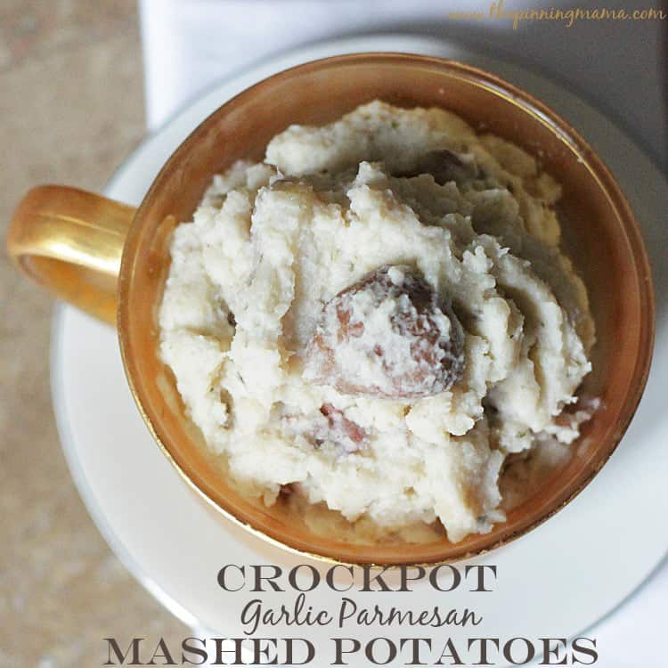 Crock Pot Garlic Parmesan Mashed Potatoes recipe via www.thepinningmama.com
