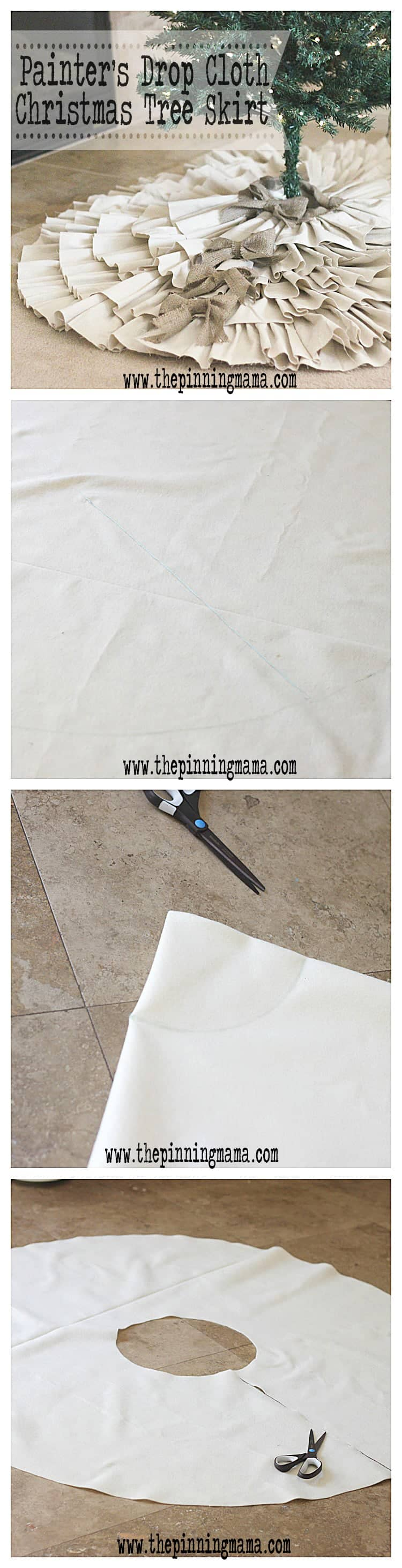 DIY Drop Cloth & Burlap Christmas Tree Skirt by www.thepinningmama.com