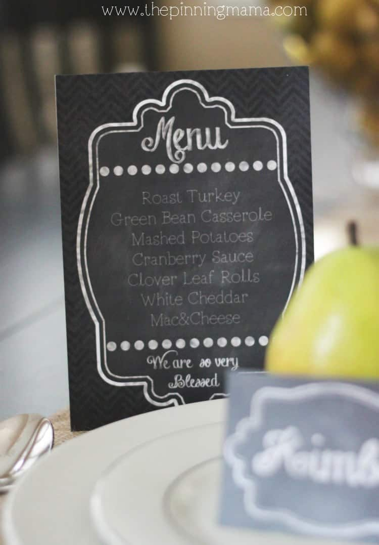 Free Printable Chalkboard Menu and Place Card  --->click here for free download