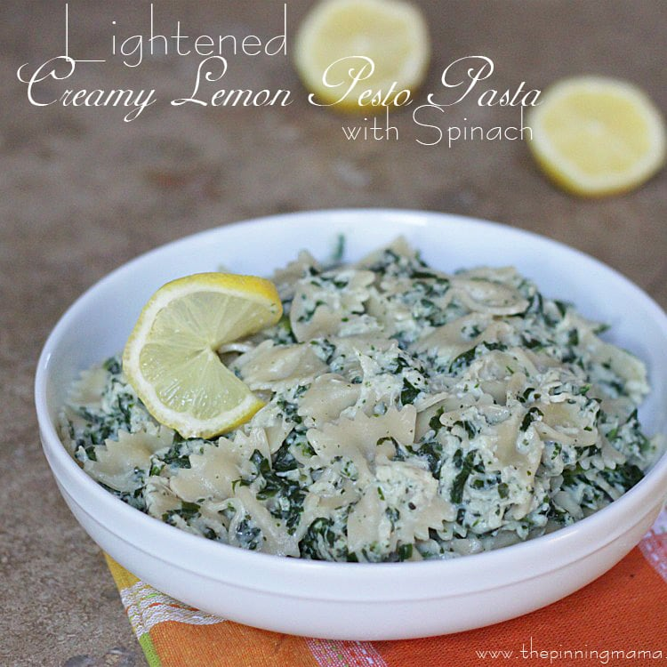 Light Creamy Lemon Pesto Pasta with Spinach click here for recipe!