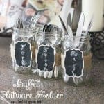 Chalkboard & Jute Silverware Holders for a Buffet or Party