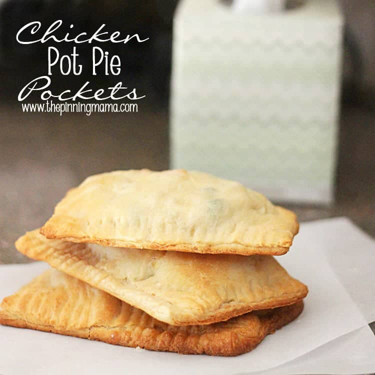 5 ingredient Easy Chicken Pot Pie Pockets - click here for recipe