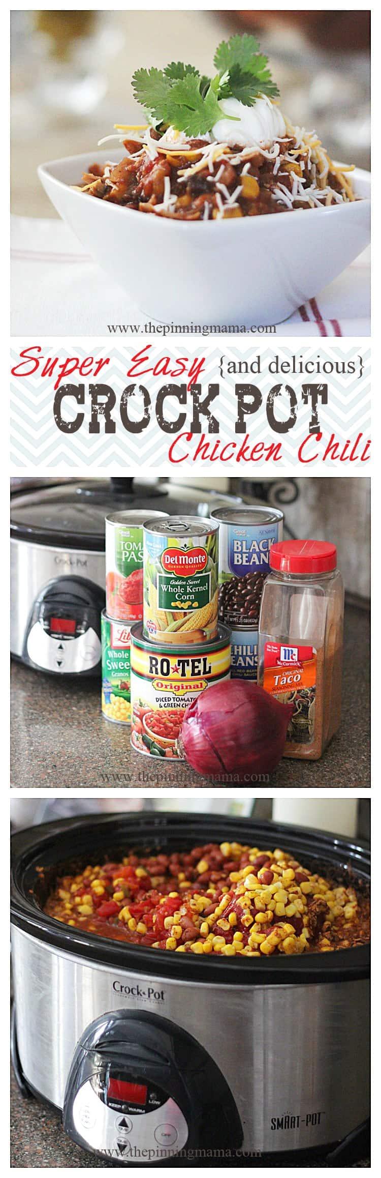 Easy {and delicious} Crock Pot Chicken Chili - click for recipe