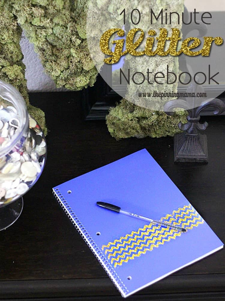 10 Minute DIY Chevron Glitter Notebook