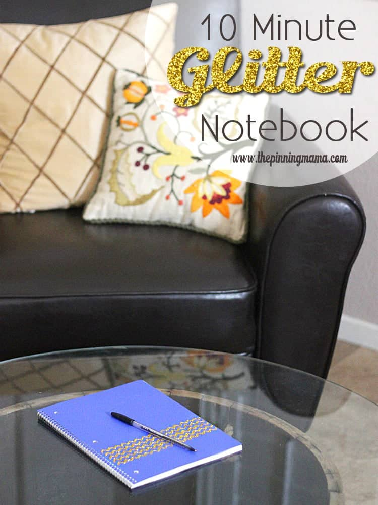 10 Minute DIY Chevron Glitter Notebook
