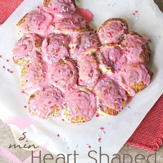 YUM! 5 minute easy Heart Cinnamon Rolls made with @Pillsburyideas cinnamon rolls!