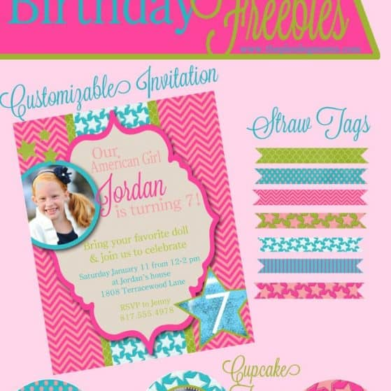 American Girl Birthday Freebies - Birthday Invitation, Cupcake Toppers, Straw Tags