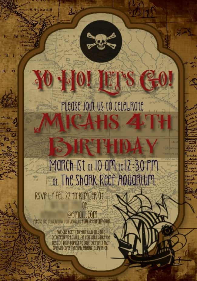 Free Pirate Birthday Party invitation - click here for download