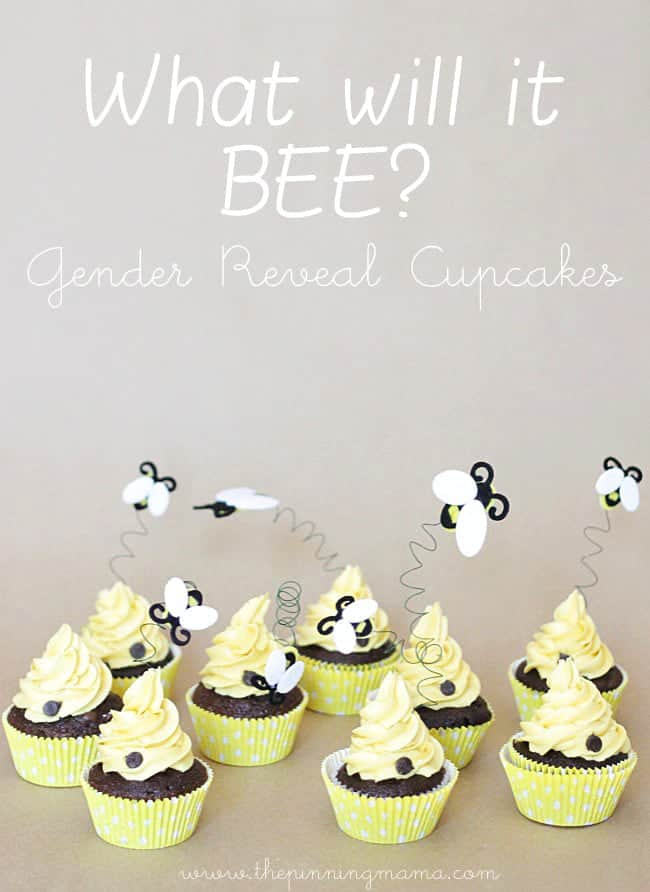 Which Will It BEE Gender Reveal Cupcakes