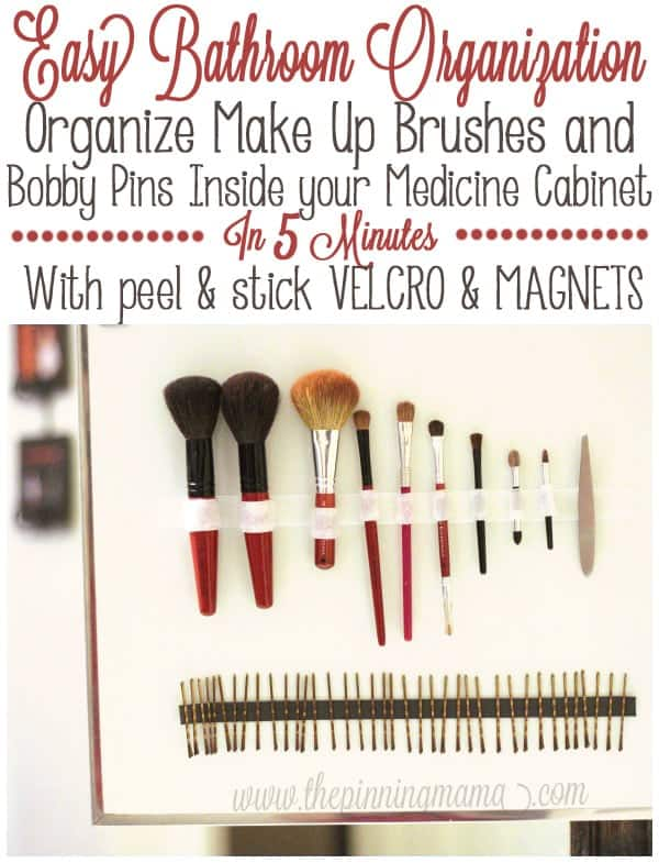 Organize your make up brushes right inside your medicine cabinet in only about 5 minutes with this easy trick!