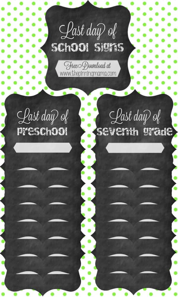 Last Day of School Free Printable Sign