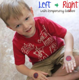 {Preschool} Learn Left & Right with Custom Made Temporary Tattoos