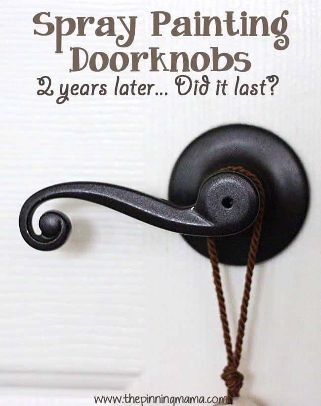 Less used door knobs painted with spray paint- See how they hold up here!