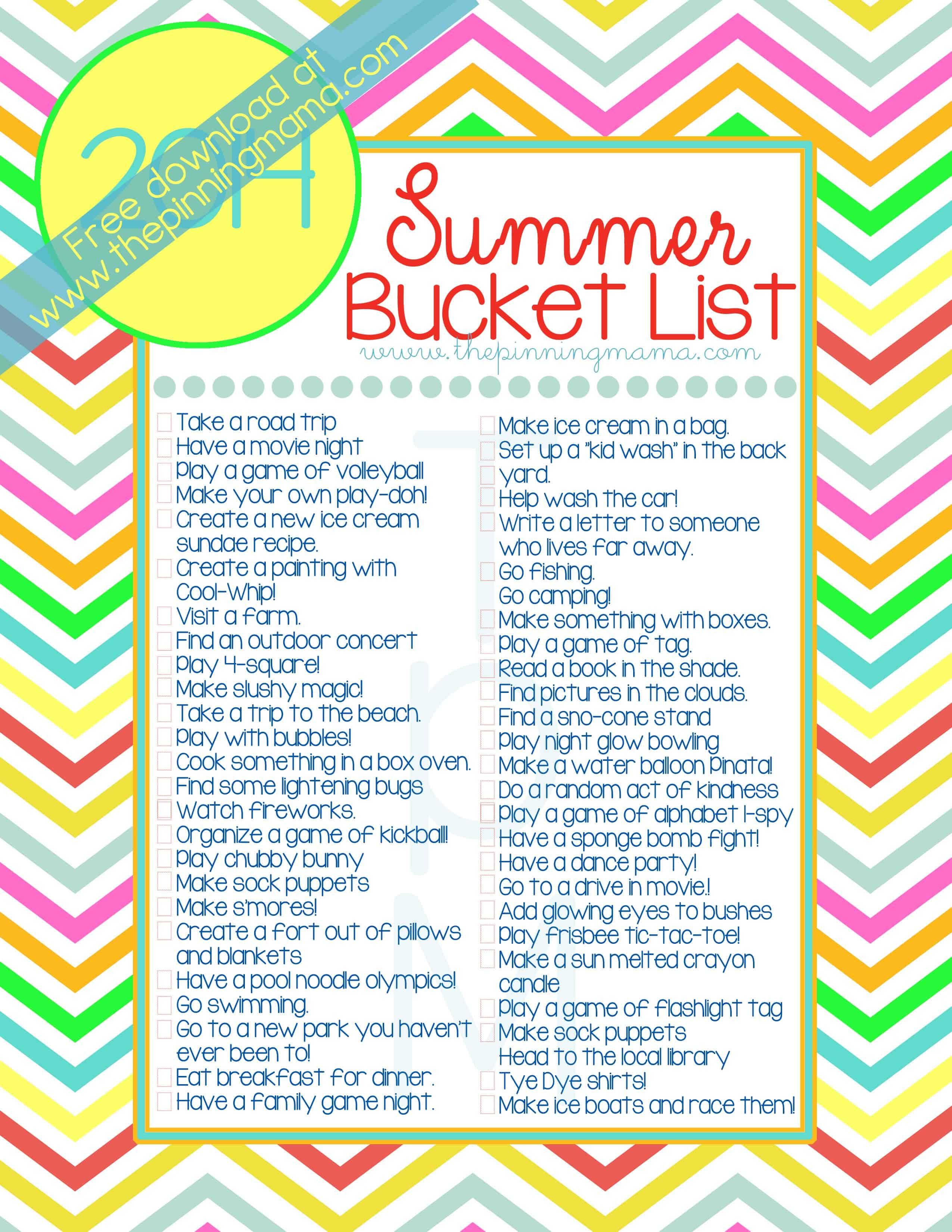 image regarding Summer Bucket List Printable called 2014 Summer months Bucket Listing: 50 Recommendations Pursuits for Youngsters