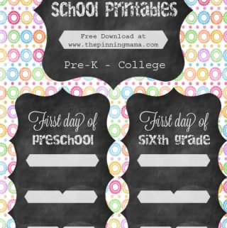 First Day of School Free Printable Signs 2014