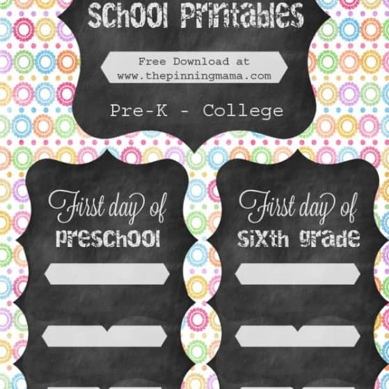 First Day of School Free Printable Sign at www.thepinningmama.com