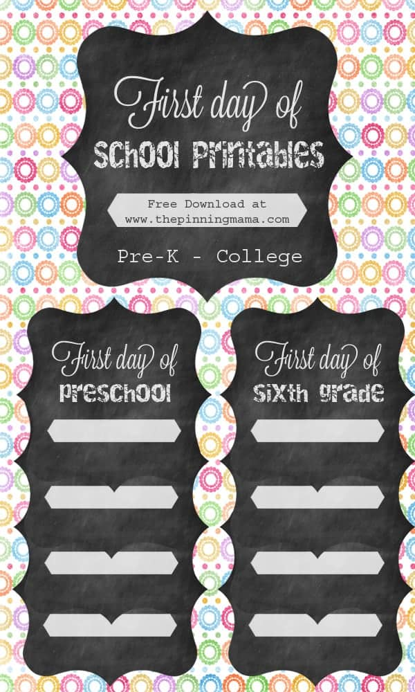 picture relating to First Day of 1st Grade Printable named To start with Working day of Higher education Totally free Printable Indicators 2014 The Pinning Mama