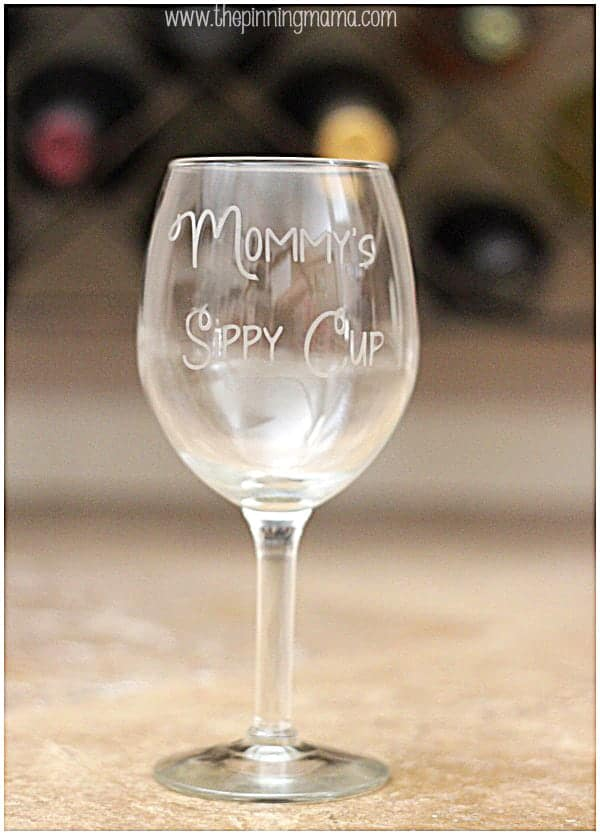 DIY Etched Glass Mommy's Sippy Cup Wine Glass + Silhouette Cameo Discount and Promo Coupon Code