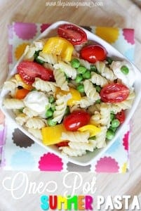 One Pot Summer Pasta- Awesome recipe you can eat hot or cold! Click for recipe!