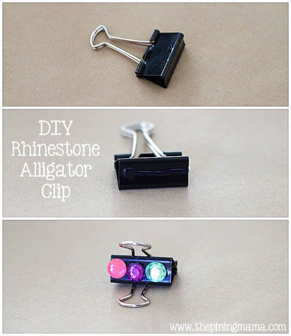 DIY Rhinestone alligator clips plus 12 other easy rhinestone projects!