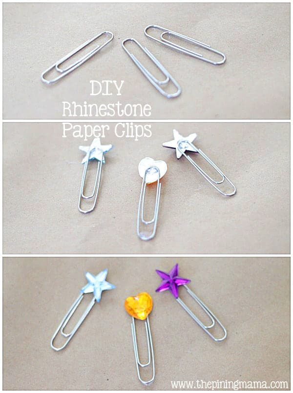 DIY Rhinestone paper clips plus 12 other easy rhinestone projects!