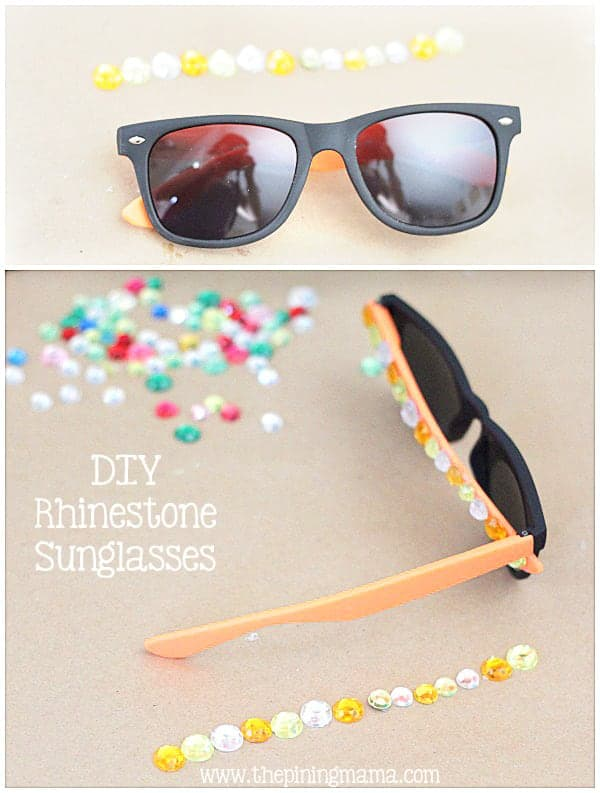 DIY Rhinestone sunglasses plus 12 other easy rhinestone projects!