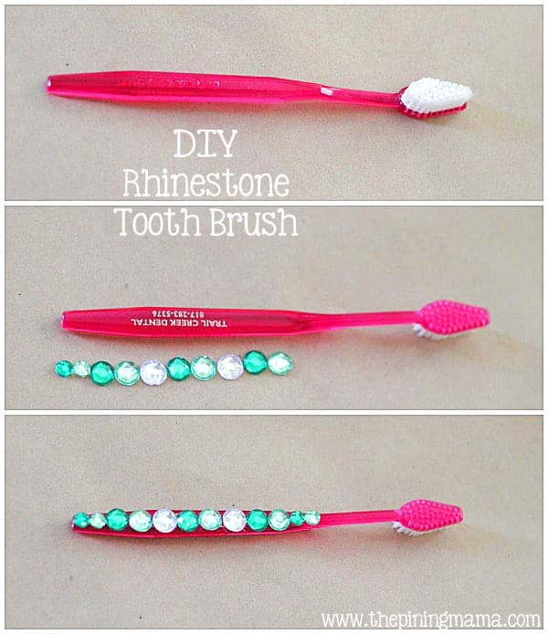 DIY Rhinestone tooth brush plus 12 other easy rhinestone projects!