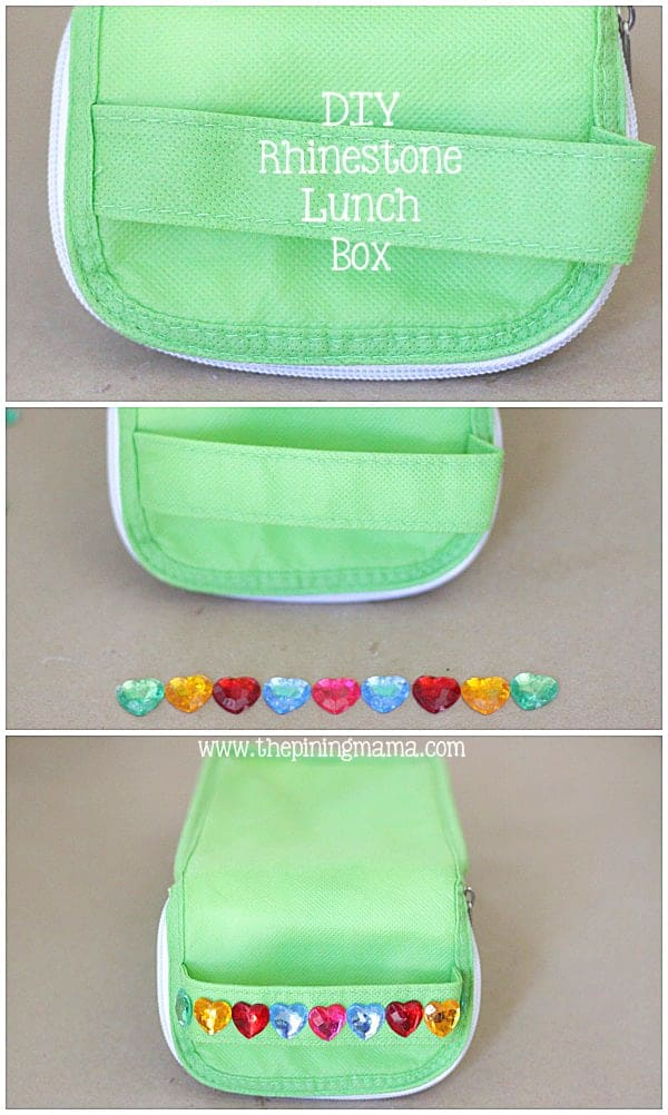 DIY Rhinestone lunch box plus 12 other easy rhinestone projects!