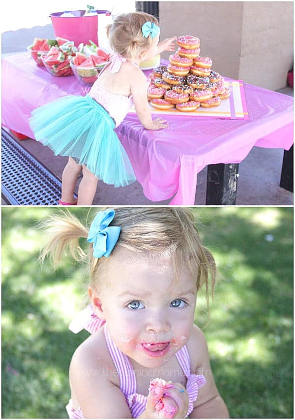 Even kids can help make a donut birthday cake!  Love this birthday party idea!