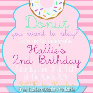 Free Customizable Donut Birthday Party Invitation