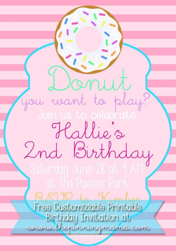 Free Customizable Donut Birthday Party Invitation • The Pinning Mama