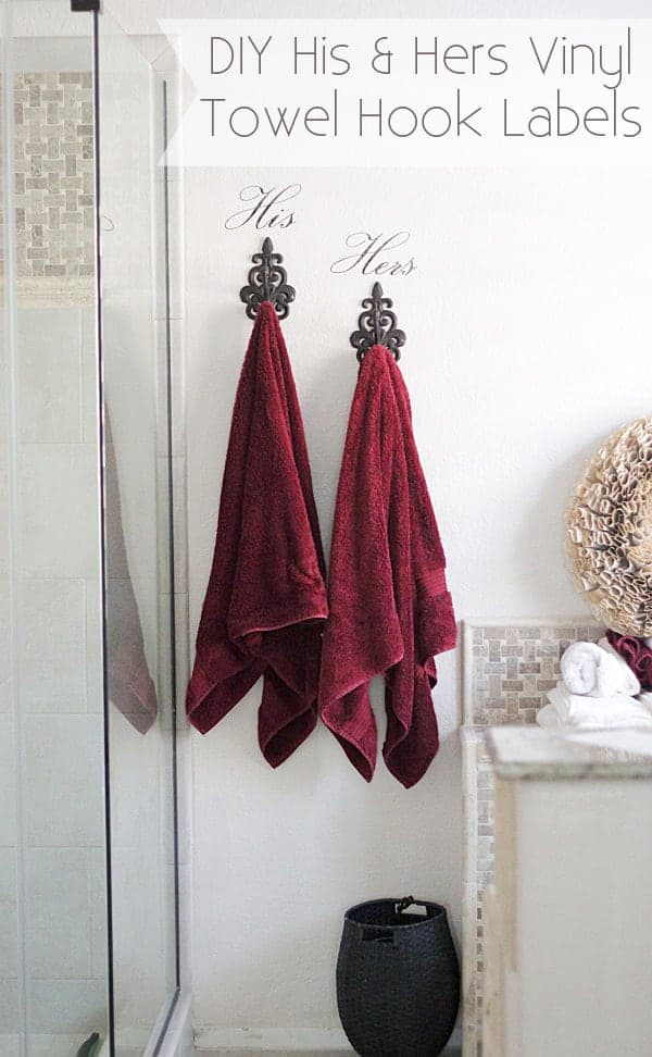 DIY His & Hers Vinyl Wall Decal for Towel Hooks + Silhouette Coupon Code!