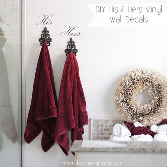His & Hers Vinyl Wall Decal for towel hooks - inexpensive, quick and easy project to personalize the master bathroom!