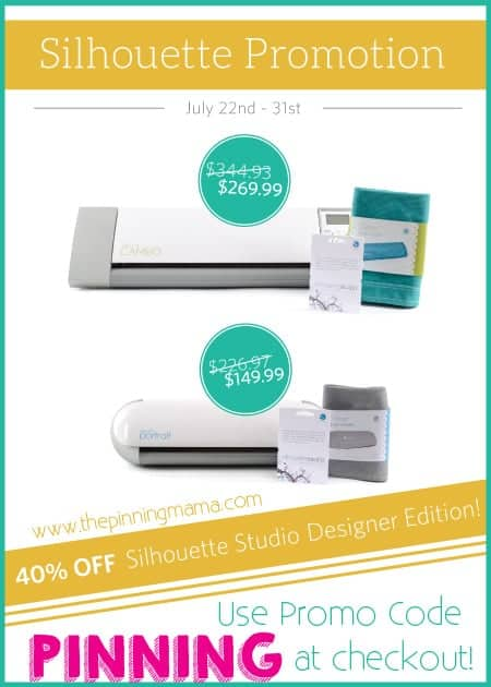 Great discounts on Silhouette Cameo & Portrait bundles! Use discount coupon code PINNING at checkout for promo pricing!