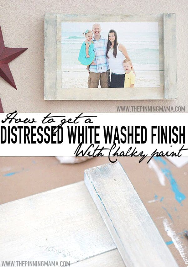 How to get a distressed white washed finish on any wooden surface with this chalky paint technique!