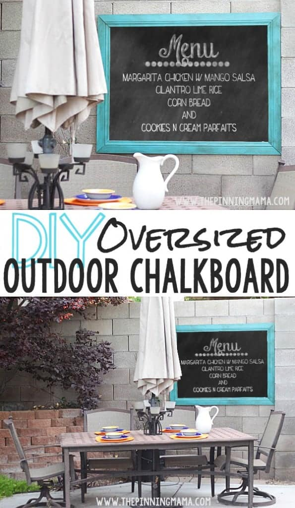 This DIY Oversized Outdoor Chalkboard makes the perfect compliment to an outdoor sitting area! It would be so fun for entertaining!