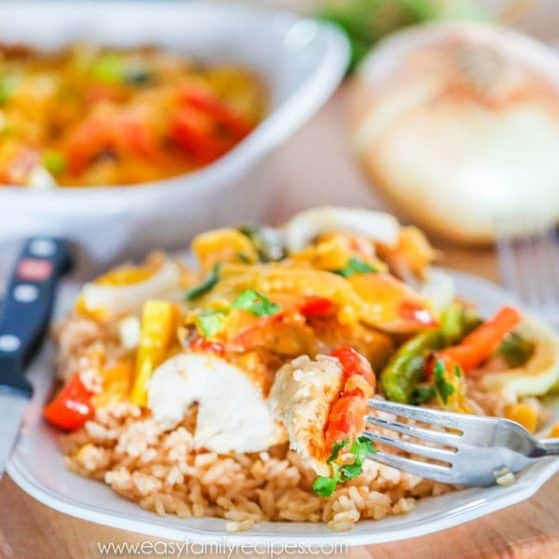 Easy Fajita Chicken Bake with bell peppers onions and cheese